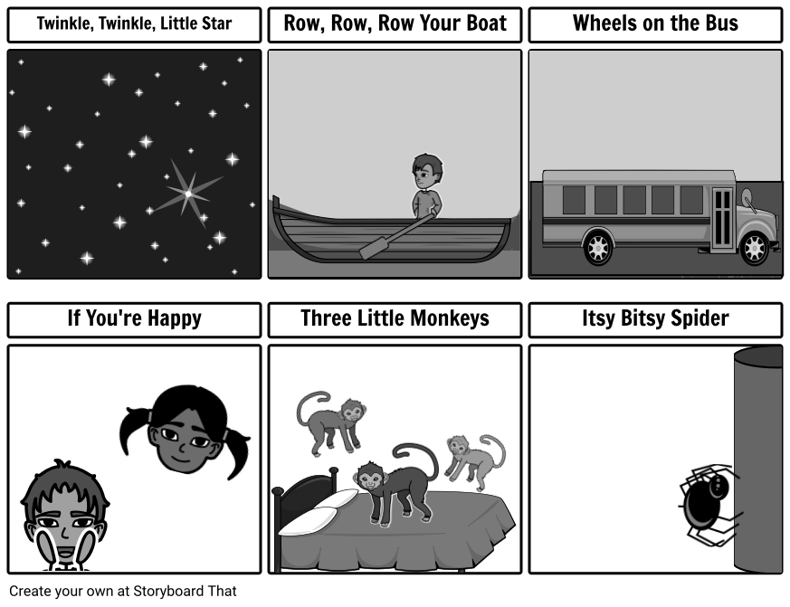 Spider clipart itsy bitsy spider. Song cards grayscale storyboard