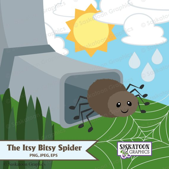 Spider clipart itsy bitsy spider. The instant download file