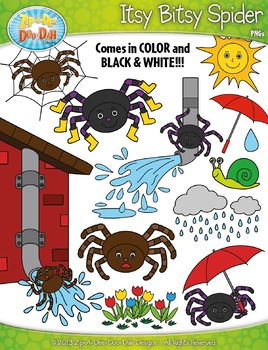 Nursery rhyme zip a. Spider clipart itsy bitsy spider
