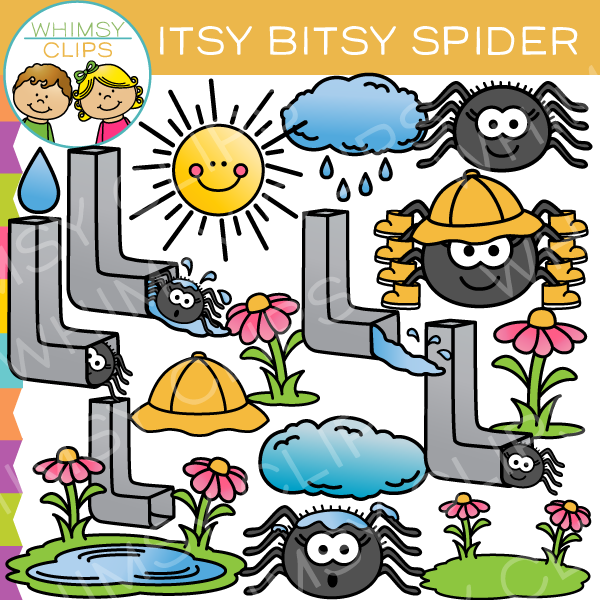 Spider clipart itsy bitsy spider. Nursery rhyme clip art