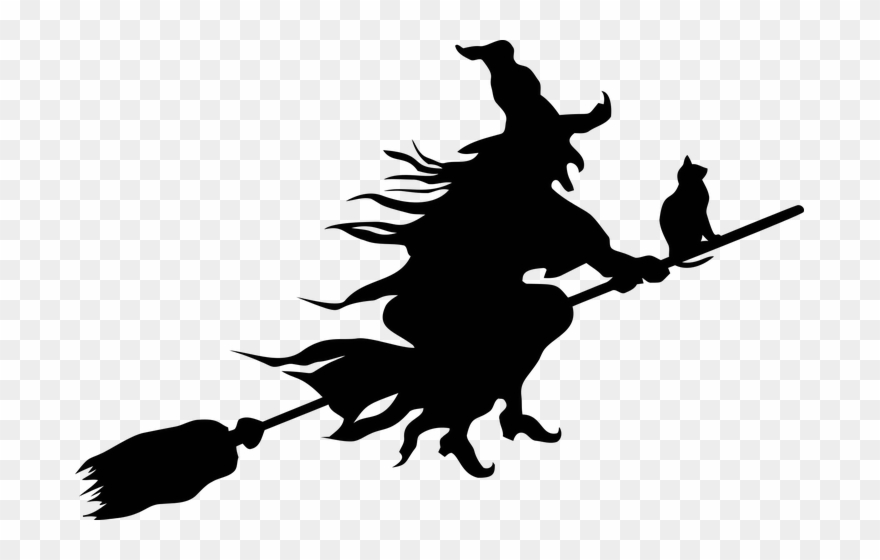 Spooky sticker flying . Witch clipart scary
