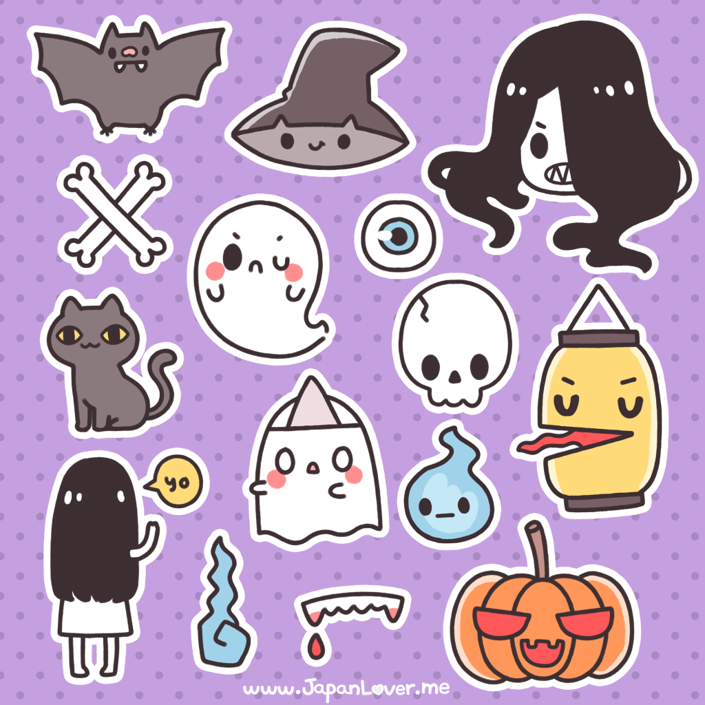 Learn to draw kawaii. Spooky clipart sticker