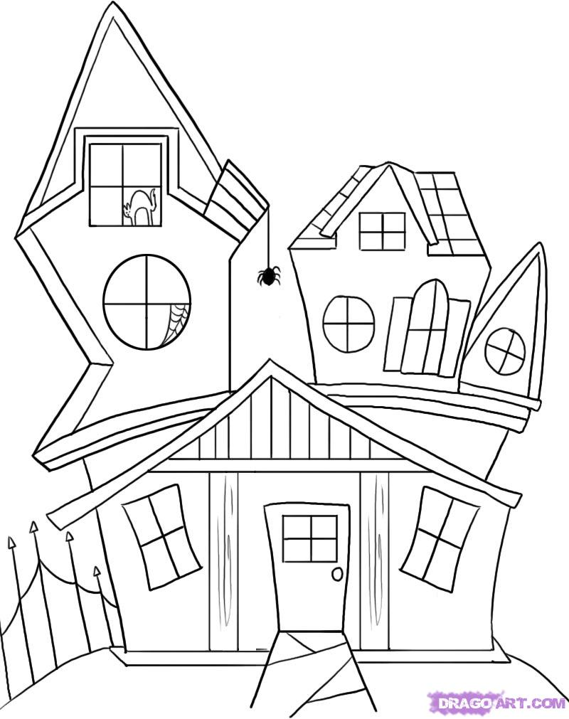 How to draw a. Spooky clipart weird house