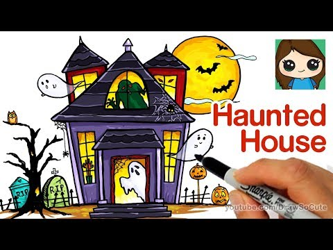 Spooky clipart weird house. How to draw a