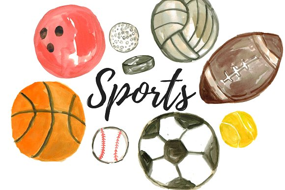 Watercolor balls illustrations creative. Sport clipart