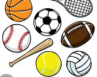 Sport clipart. Vintage sports balls clip