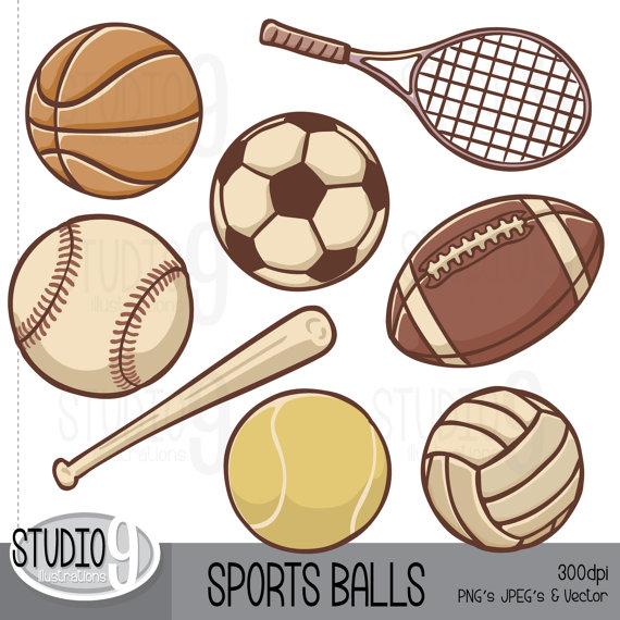 Clip art vintage balls. Sports clipart