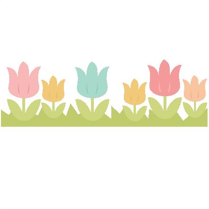 Tulip svg cutting file. Spring border png