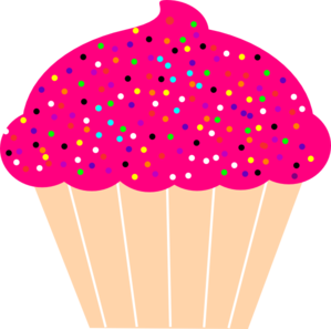 Cupcake with pink frosting. Sprinkles clipart