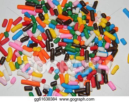 Stock illustration rainbow . Sprinkles clipart scattered
