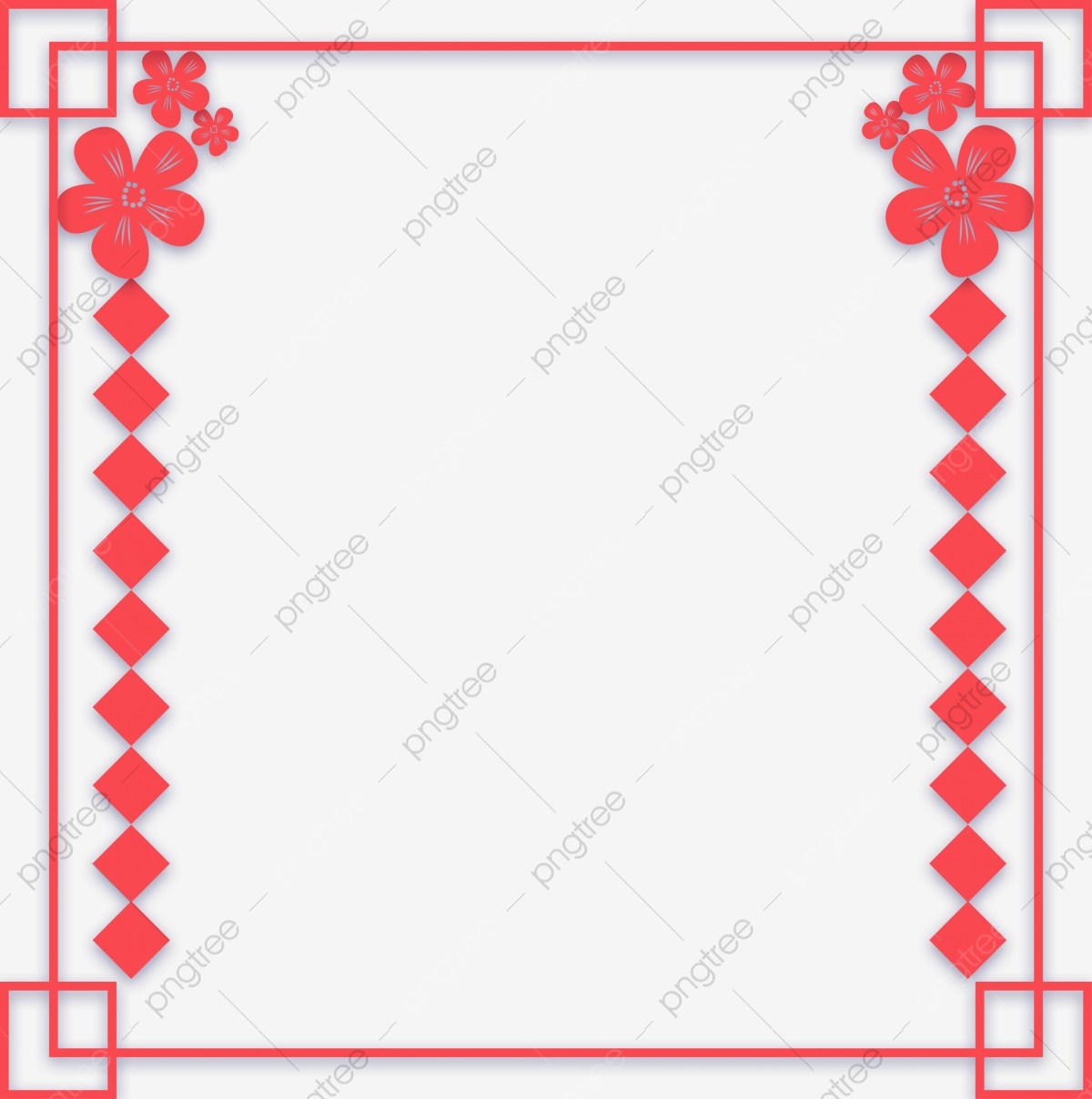 Square clipart beautiful border. Red flowers cartoon hand