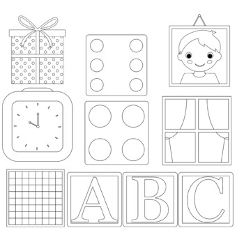 Objects d clip art. Square clipart black and white