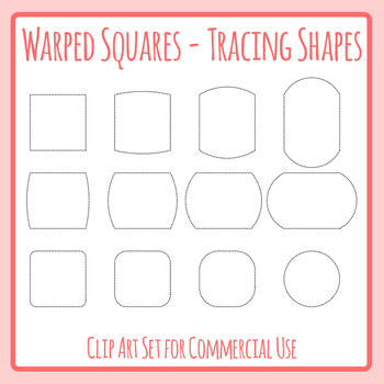 Warped tracing shapes outlines. Square clipart blank square