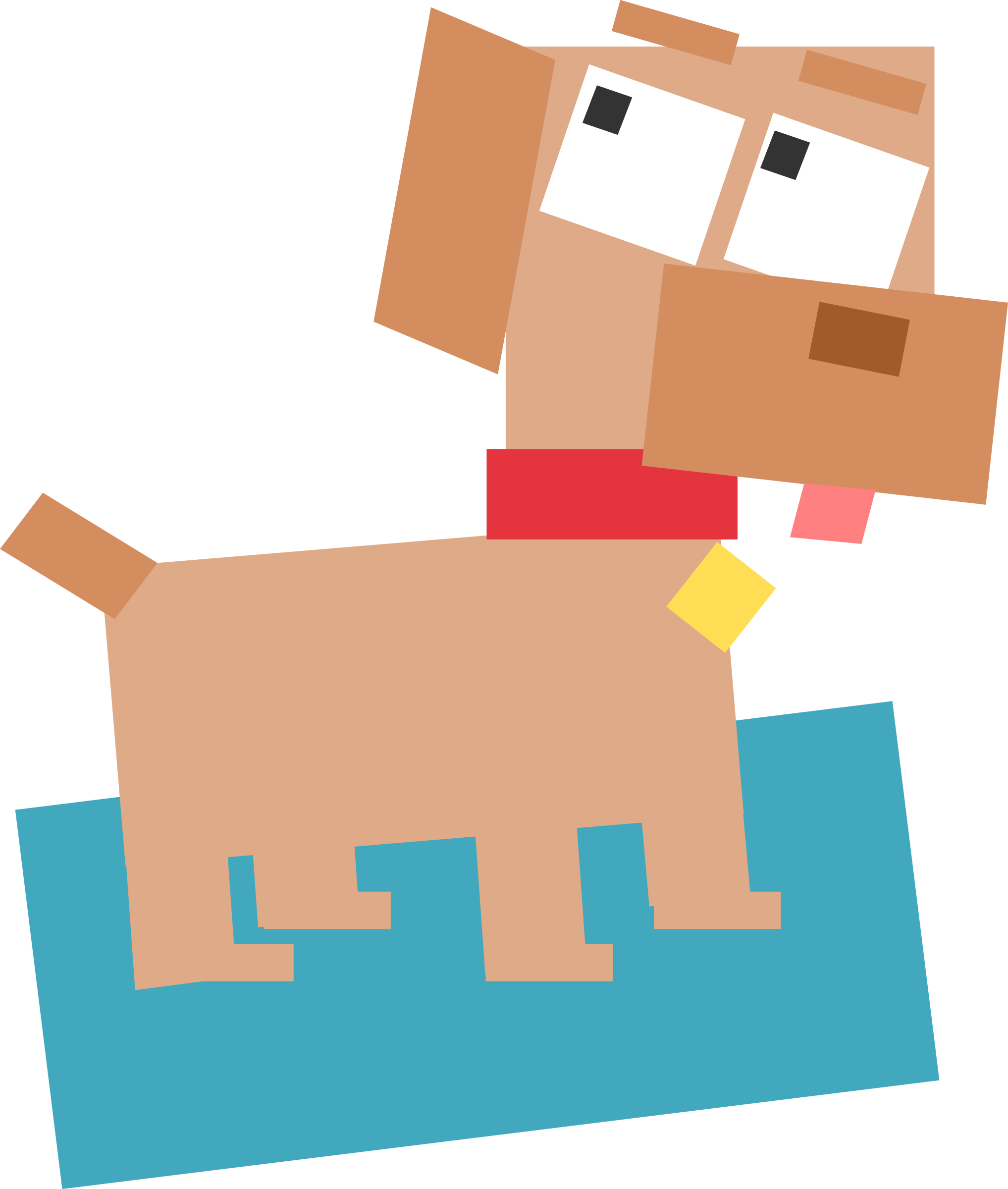 Animal dog big image. Square clipart cartoon