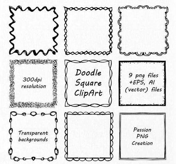 Square clipart clip art. Doodle hand drawn frames