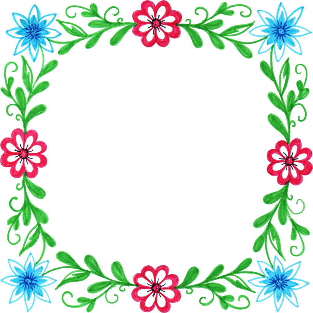Square clipart colorful square.  flower frame png