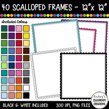 Scalloped borders and frames. Square clipart colorful square