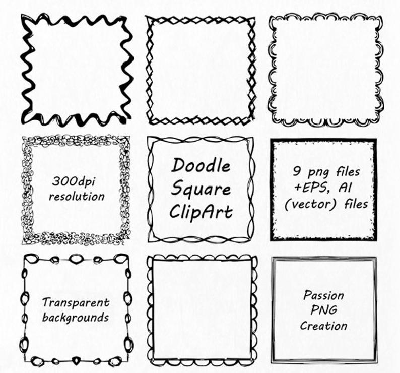 Square clipart doodle. Hand drawn frames clip