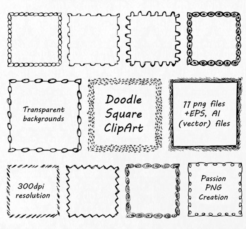 Hand drawn frames clip. Square clipart doodle