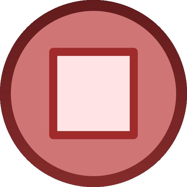 Square clipart icon. Red stop button plain