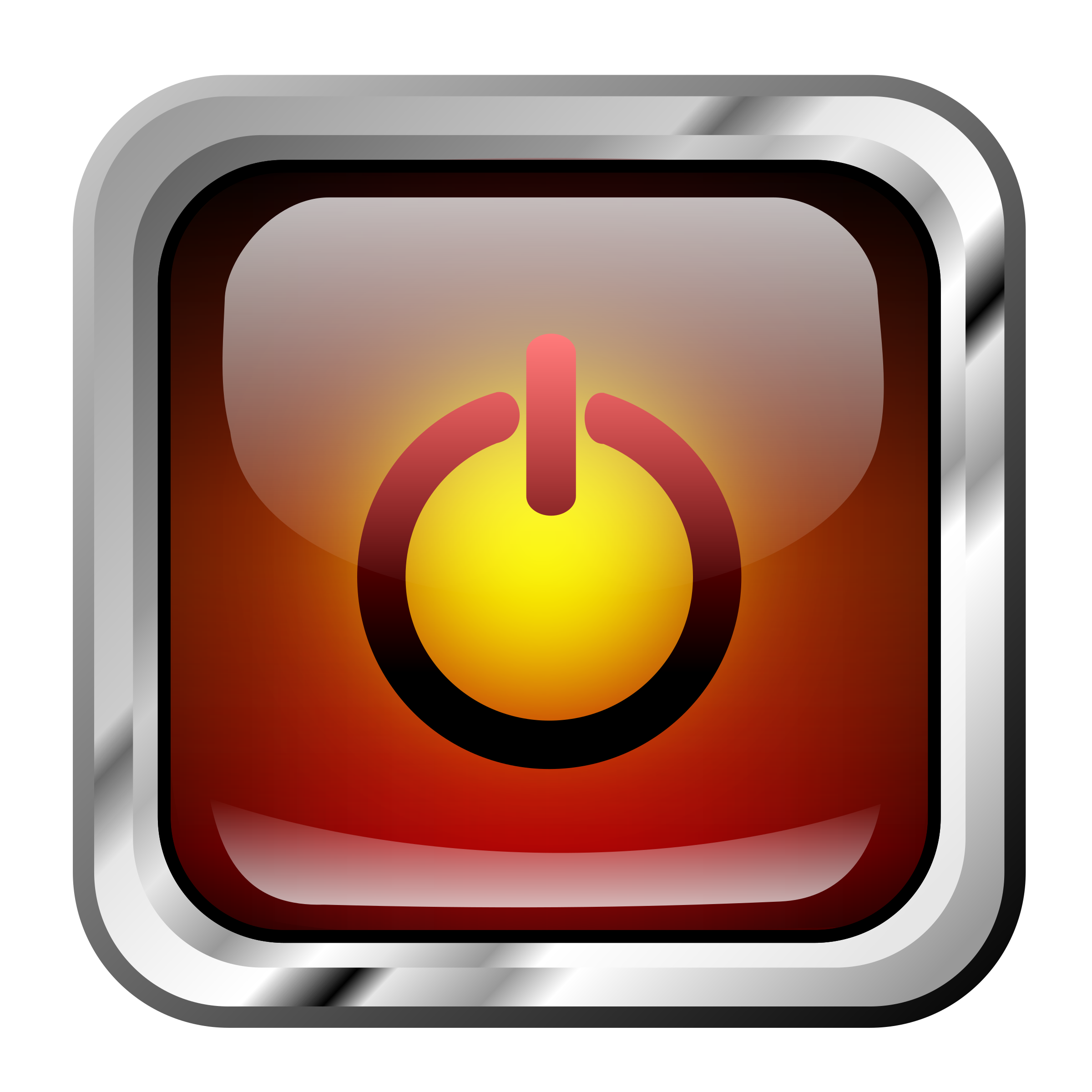 Square clipart icon. Red multimedia power big