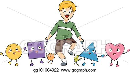 Vector boy mascot shapes. Triangular clipart kid