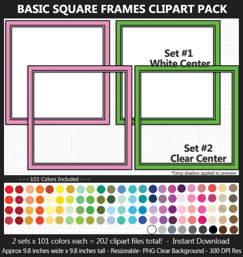 Square clipart large. Basic frames pack colors