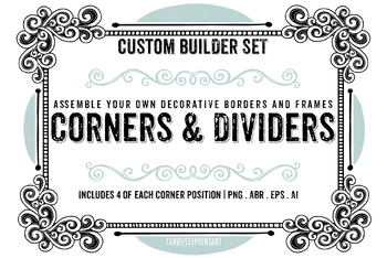 border images corners. Square clipart line art