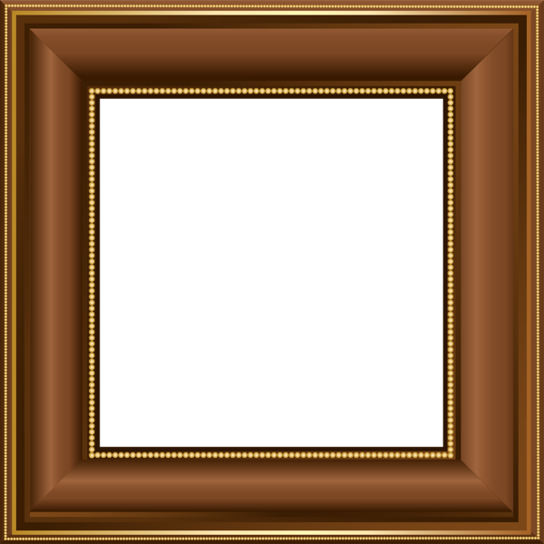 Brown transparent photo frame. Square clipart photograph border
