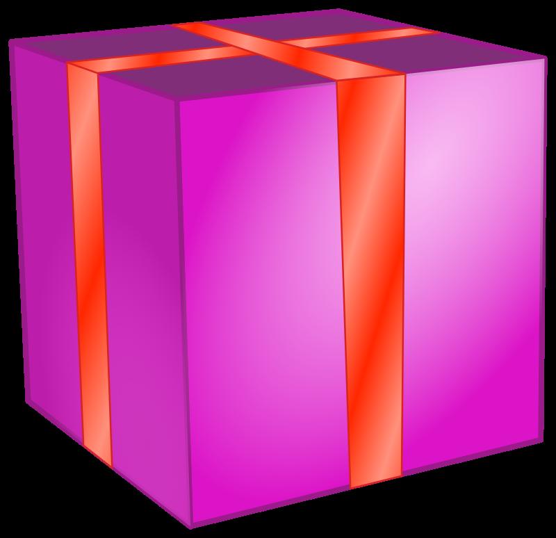 Gift box medium image. Square clipart pink square