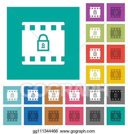 Square clipart plain. Vector art encode movie
