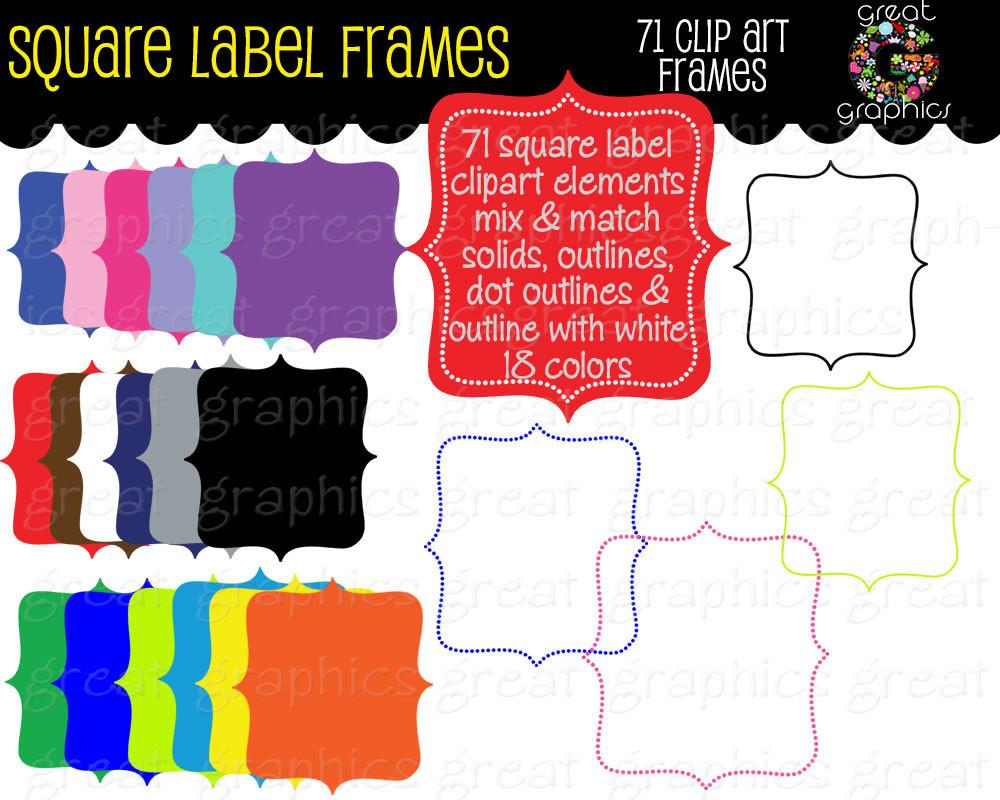 Label frame digital clip. Square clipart printable
