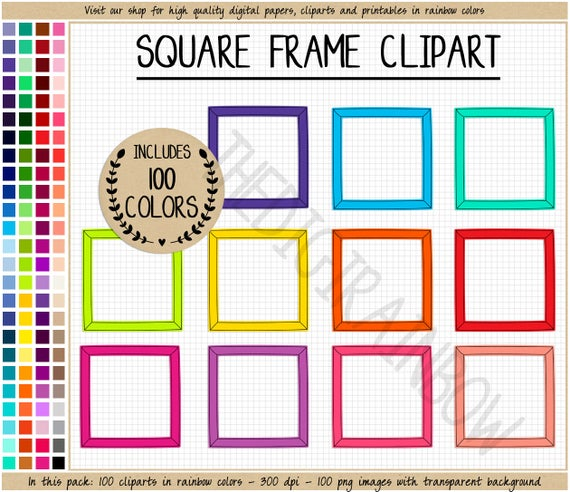 Square clipart printable. Sale frame rainbow stickers