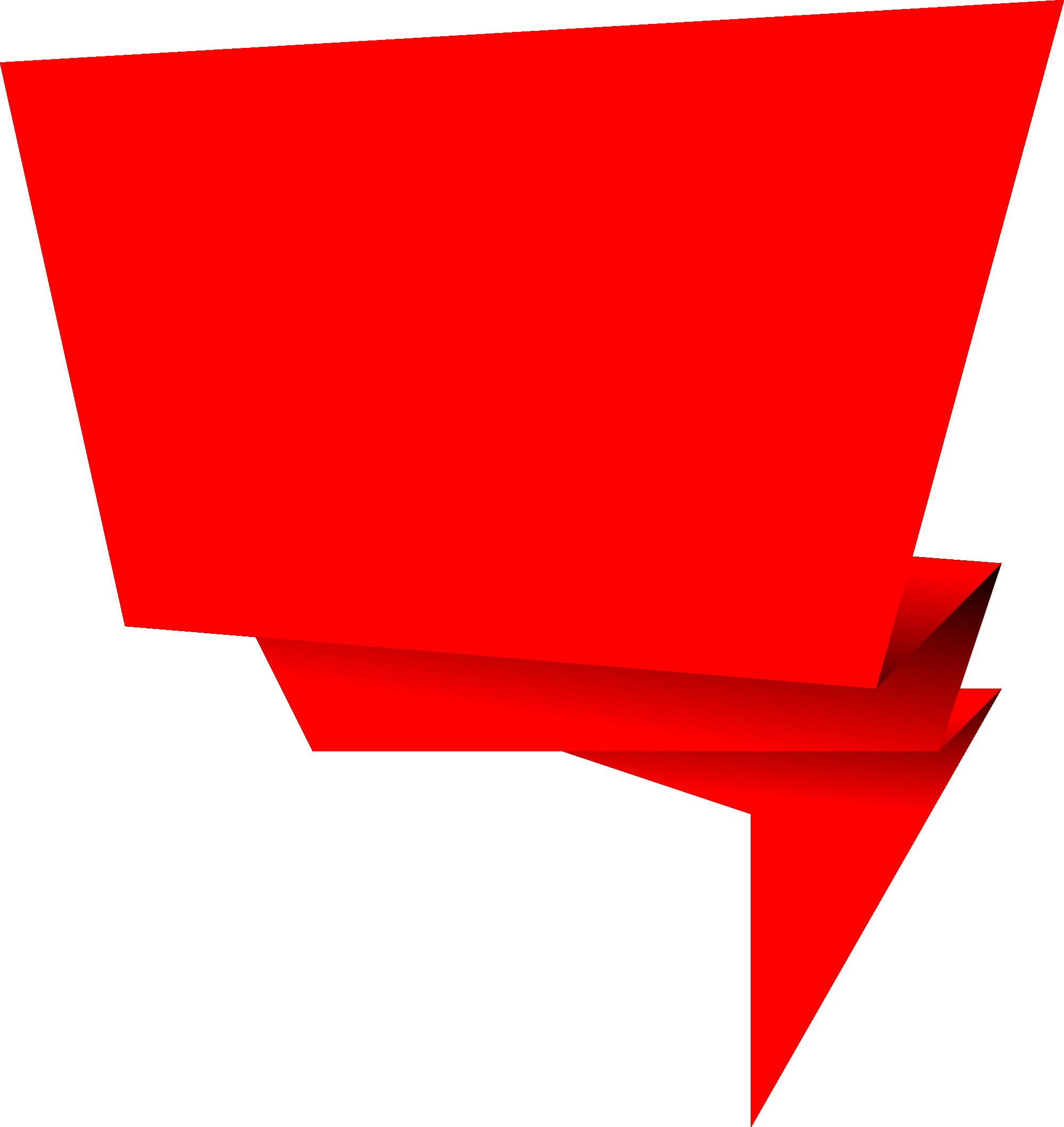 origami banner vector. Square clipart speech bubble
