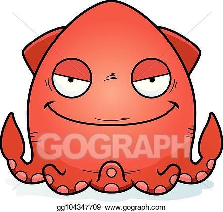 Squid clipart cartoon evil. Vector illustration eps