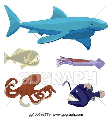 Vector stock dangerous unusual. Squid clipart deep sea creature