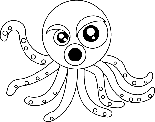 Octopus line art cartoon. Squid clipart octonauts