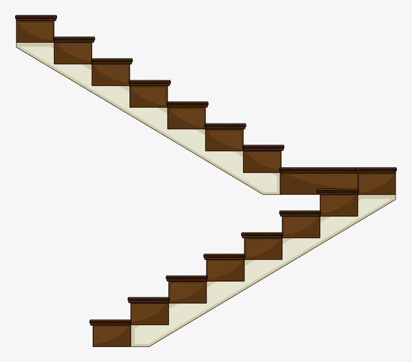 Staircase clipart. The turning cartoon ladder