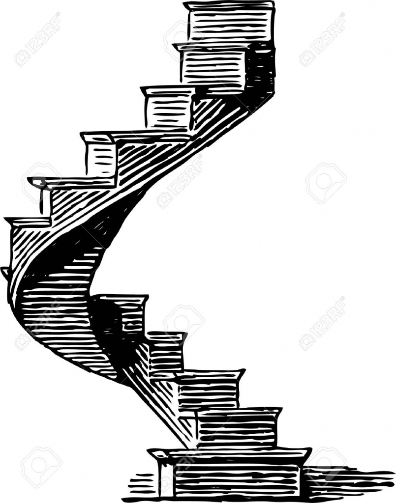 Drawing of a wooden. Staircase clipart