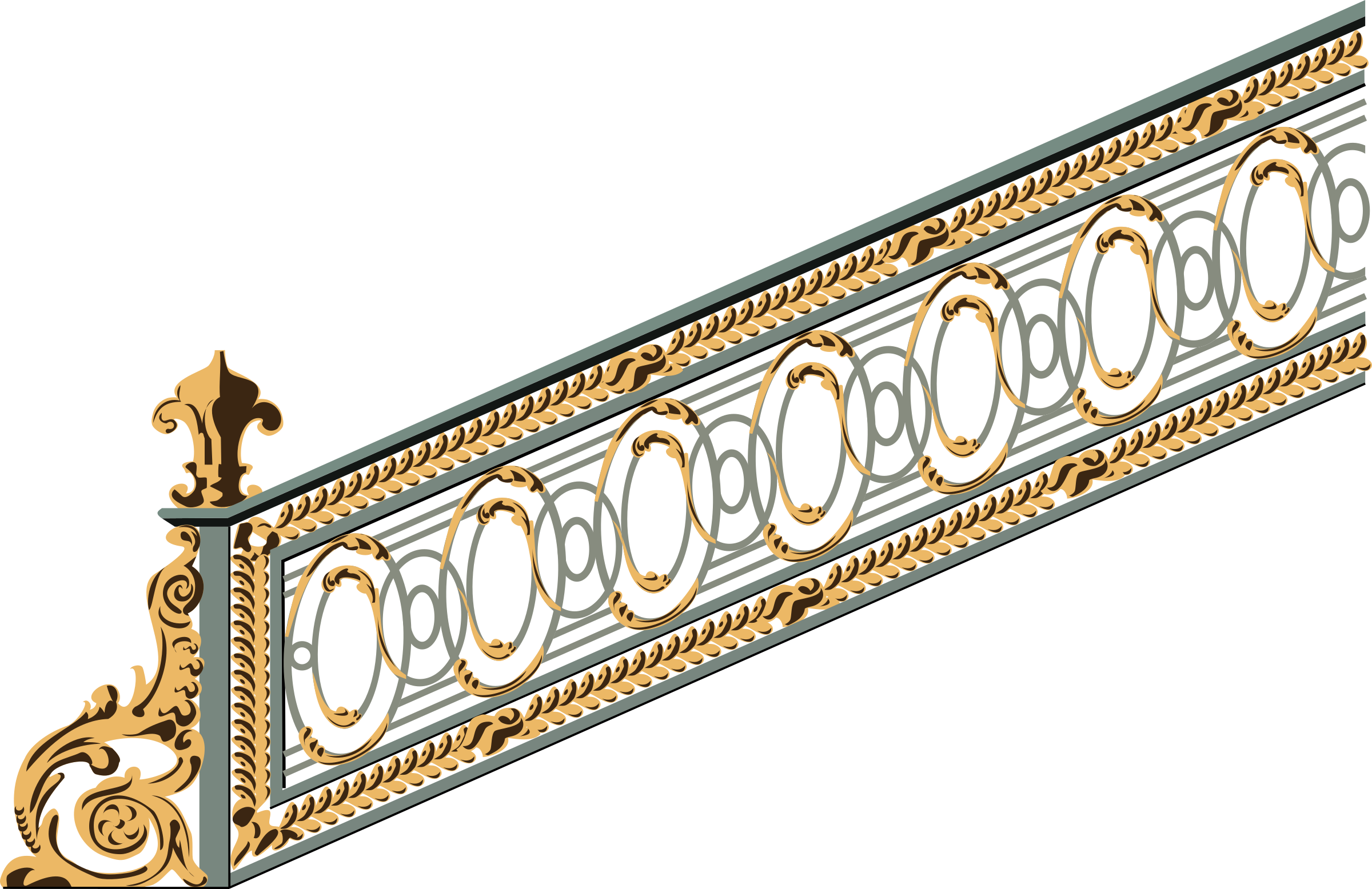 An old big image. Staircase clipart banister