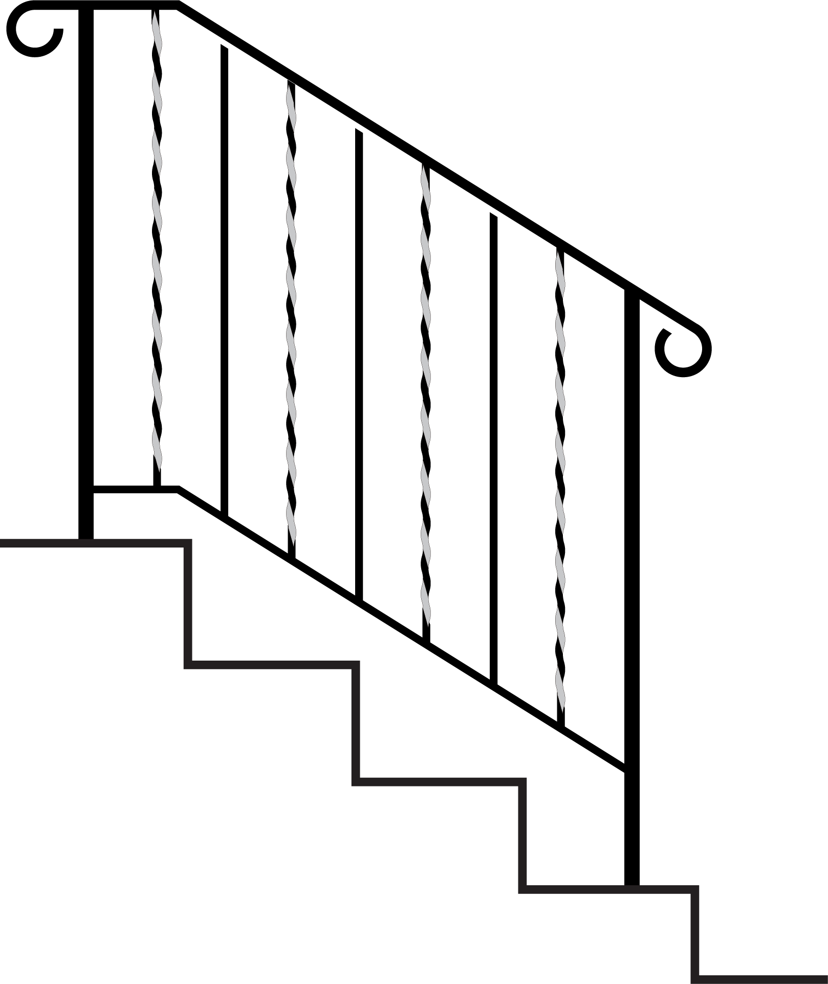 Exterior wrought iron handrails. Staircase clipart banister