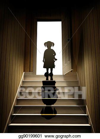 Stock illustration little girl. Staircase clipart basement stair