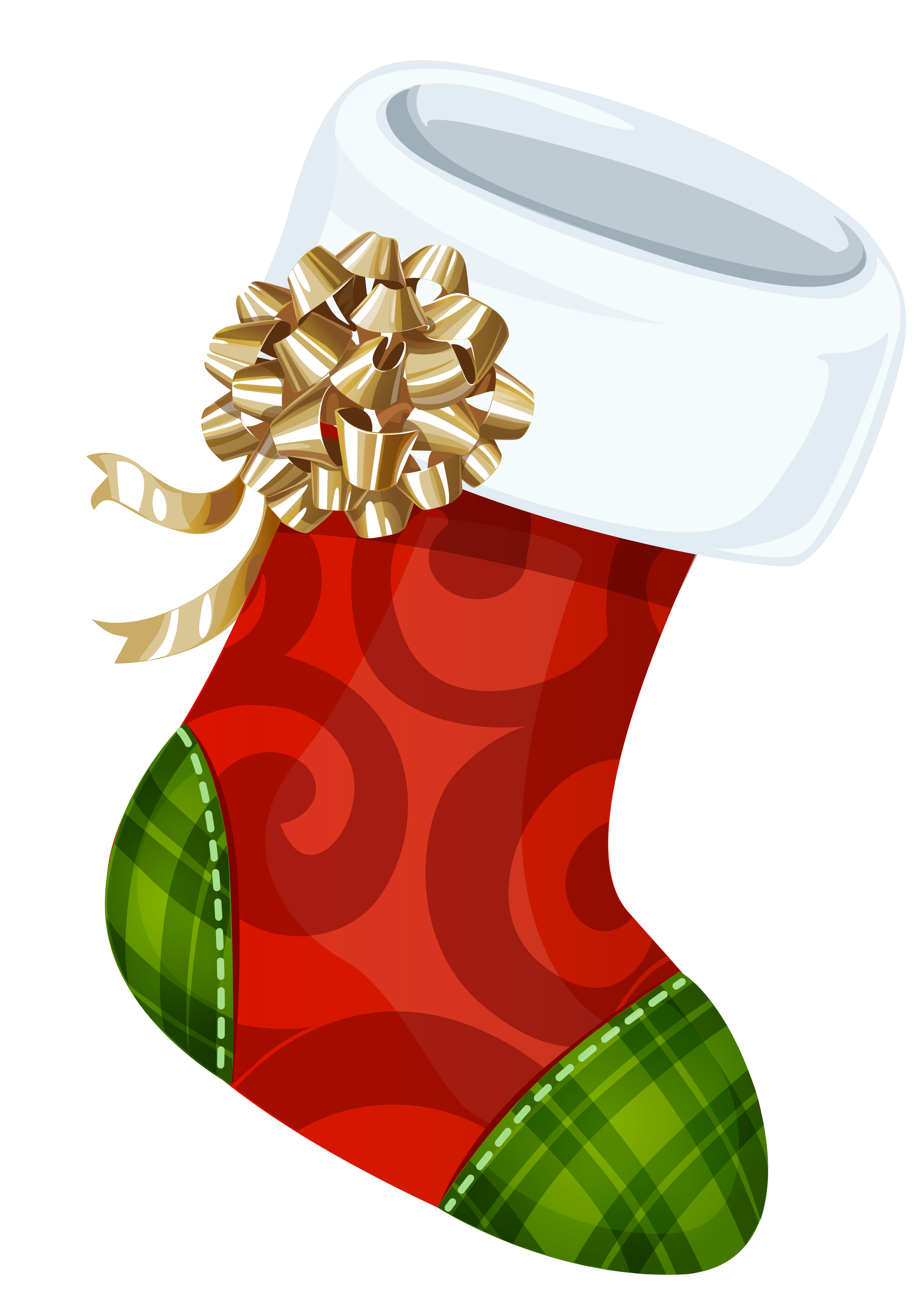 Stocking with gold bow. Staircase clipart christmas