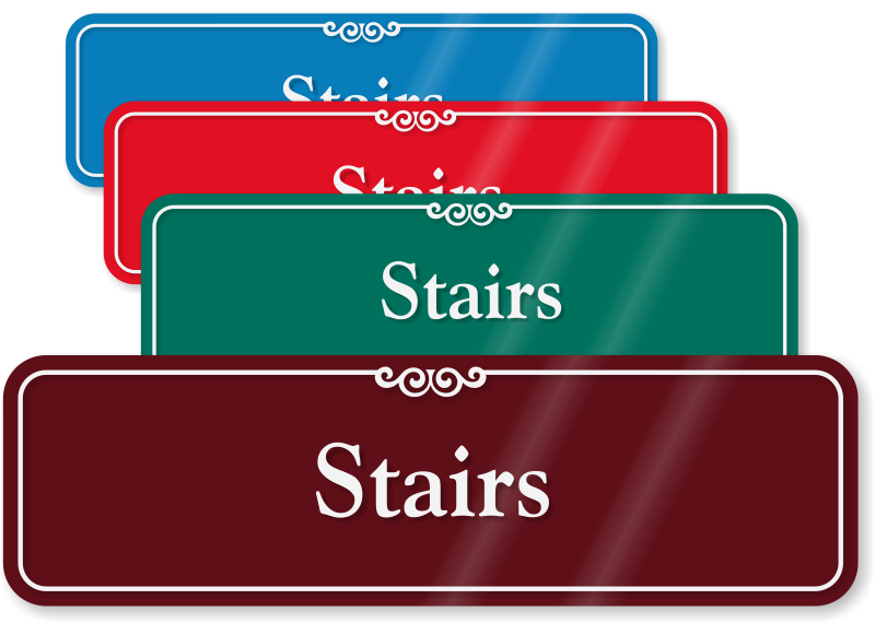 Staircase clipart next step. Stairway signs identification mydoorsign