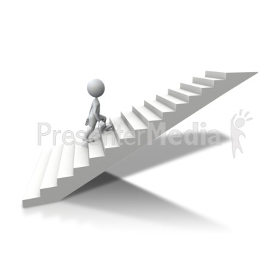 Stick figure climbing up. Staircase clipart one step at time