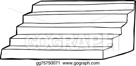 Vector art outlined drawing. Staircase clipart outline