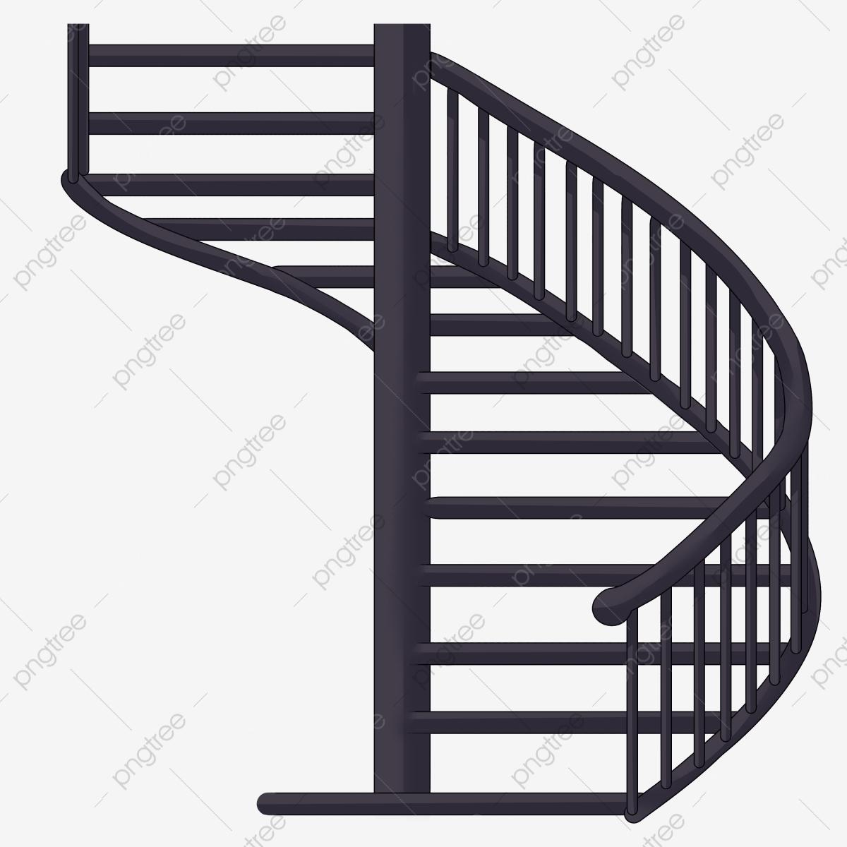Staircase clipart spiral staircase. Blue illustration black ladder