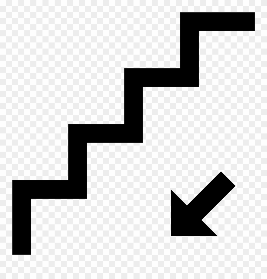 Staircase clipart symbol. Stairs down icon free