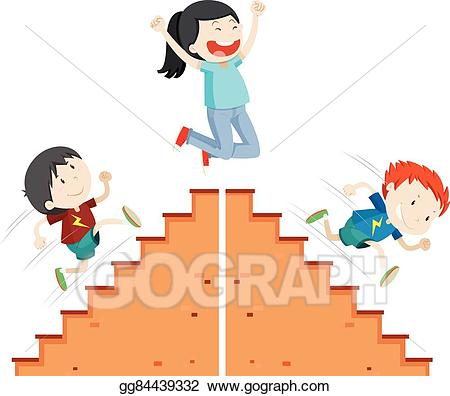 Vector illustration boys running. Staircase clipart up and down