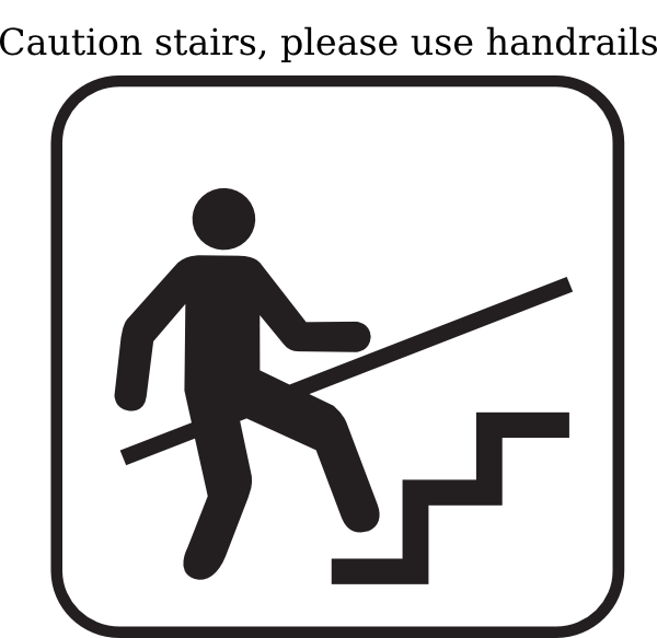 Staircase clipart upstairs downstairs. Please hold handrails clip